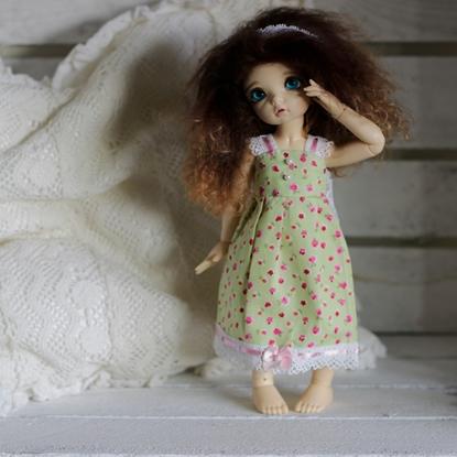 Afbeeldingen van Green pink roses dress
