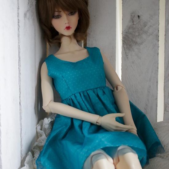 Afbeelding van Blue polka dot laced dress