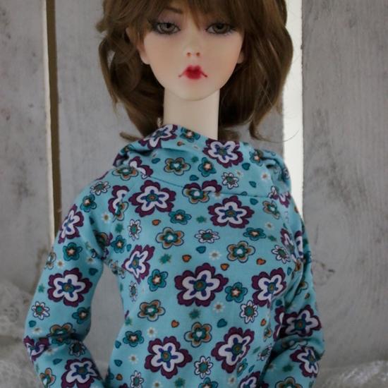 Afbeelding van Blue flower hoodie