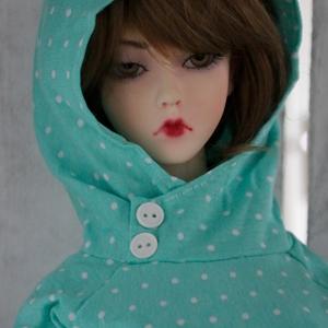 Afbeelding van Lime green polka dot hoodie